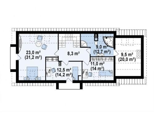 Проект практичного и стильного дома с эркером и мансардным окном, подходящий для продольного участка - Z157