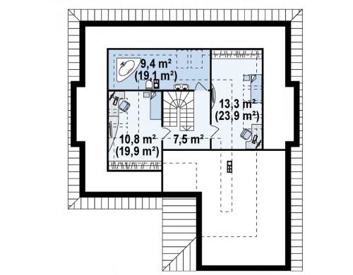 Проект Z158 Комфортный элегантный дом с тремя спальнями и выступающим фронтальным гаражом.  Проекты домов и гаражей