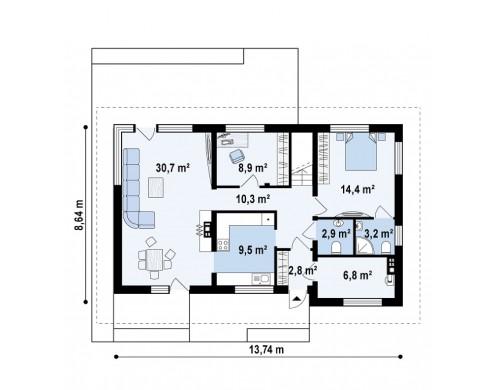 Просторный двухэтажный дом с двумя дополнительными спальнями на первом этаже - Z159