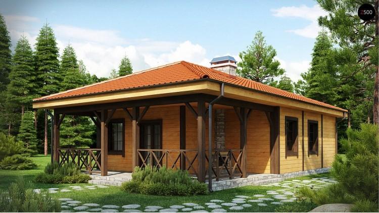 Проект компактного одноэтажного дом с террасой - Z16