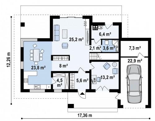 Проект Z160 A GP Проект мансардного дома в европейском стиле с балконом.  Проекты домов и гаражей