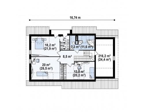 Проект дома со встроенным гаражом, угловой террасой и кабинетом на первом этаже - Z160
