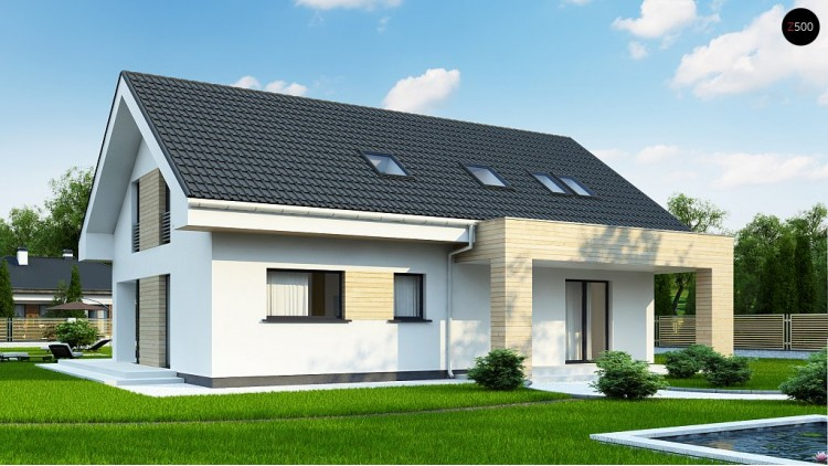 Проект Z160 A Аккуратный мансардный коттедж с гостевой спальней на первом этаже  Проекты домов и гаражей