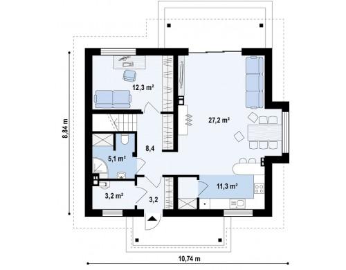 Проект дома с кабинетом на первом этаже и с эркером в обеденной зоне - Z162