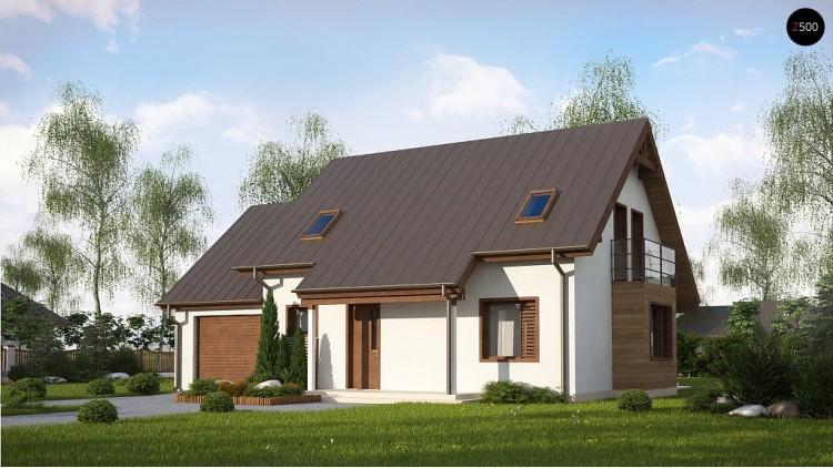 Проект Z162 GLv2 Вариант проекта Z162 с гаражом с левой стороны, с нежилой мансардой над гаражом.  Проекты домов и гаражей