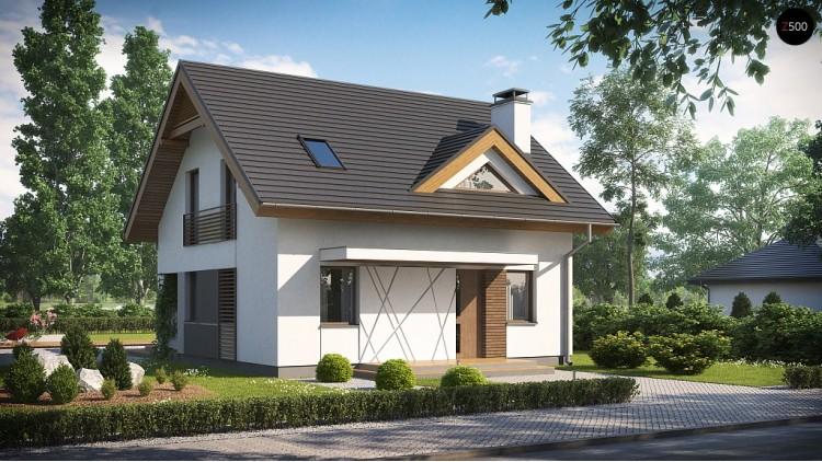 Небольшой стильный и практичный дом с мансардными окнами - Z163