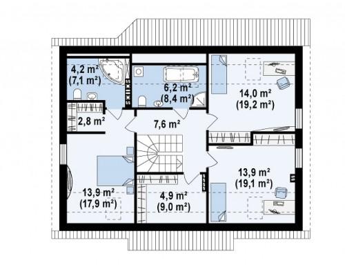 Проект дома в традиционном стиле простой формы с двускатной крышей - Z164