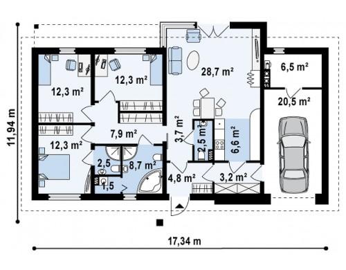 Проект дома Z165 с изменениями в планировке.