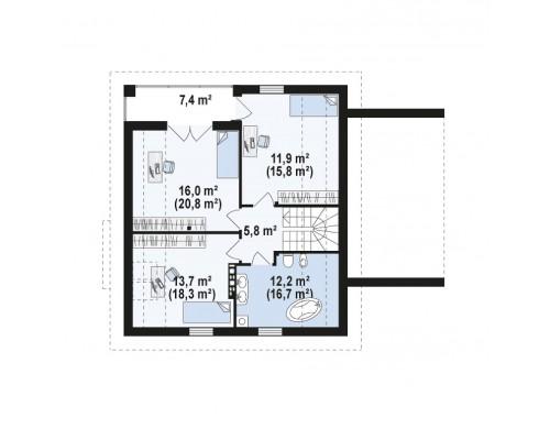 Проект Z166 GP Проект мансардного дома в классическом стиле с гаражом на одно авто.  Проекты домов и гаражей
