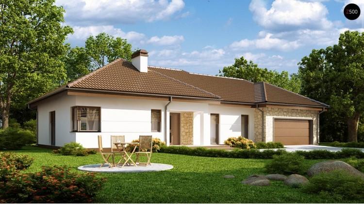 Проект дома с гаражом на две машины и большим хозяйственным помещением - Z167