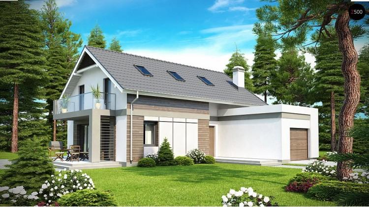 Проект дома с мансардой, с выступающим фронтальным гаражом - Z168