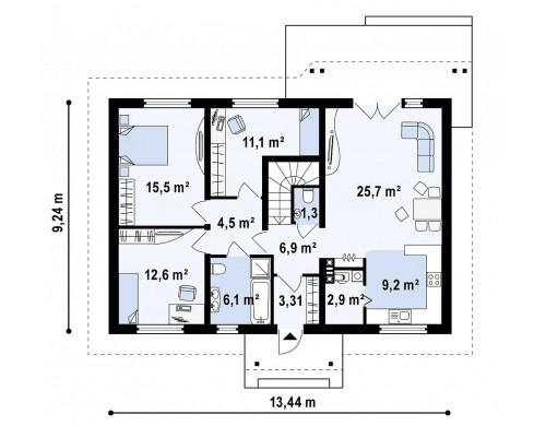Проект одноэтажного дома в традиционном стиле с возможностью обустройства чердачного помещения - Z169