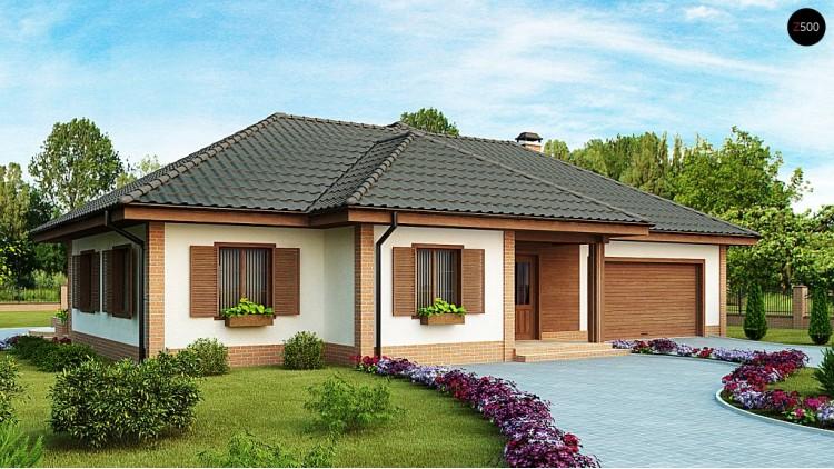 Проект одноэтажного дома с гаражом для двух машин - Z17