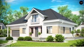 Проект дома с большим гаражом для двух автомобилей и дополнительной комнатой над ним - Z171