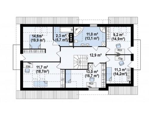 Проект Z172 GL2 Вариант типового проекта Z172 c добавленным гаражом для двух машин  Проекты домов и гаражей