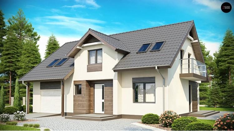 Проект дома со встроенным гаражом, мансардными окнами и большим хозяйственным помещением - Z172