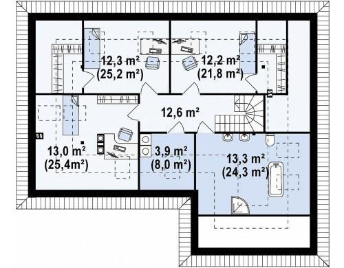 Проект дома традиционной формы с гаражом и дополнительной небольшой ночной зоной на первом этаже - Z173