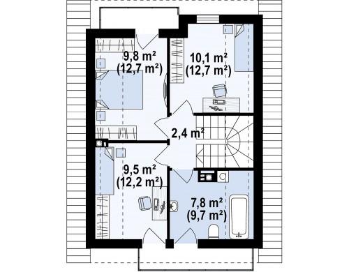 Проект Z174 Компактный и удобный дом традиционной формы, подходящий, также, для узкого участка.  Проекты домов и гаражей