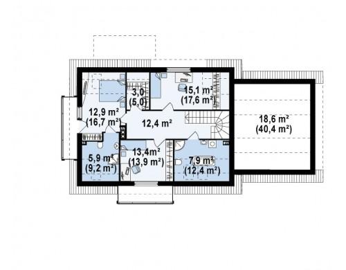 Проект дома с гаражом, красивыми мансардными окнами и дополнительной спальней на первом этаже - Z175