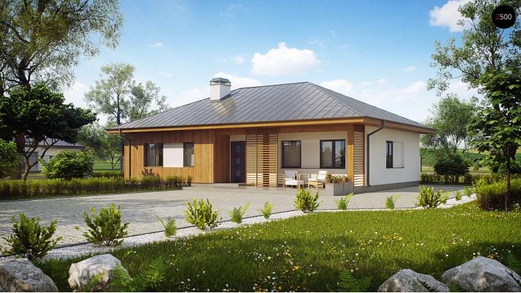 Проект одноэтажного дома традиционной формы с многоскатной крышей - Z176