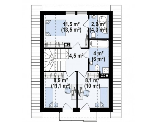 Проект Z177 Аккуратный, практичный дом, также для узкого участка.  Проекты домов и гаражей