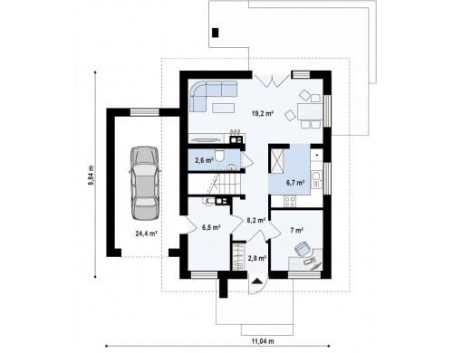 Проект Z177 GL Версия дома Z177 с гаражом, пристроенным с левой стороны.  Проекты домов и гаражей