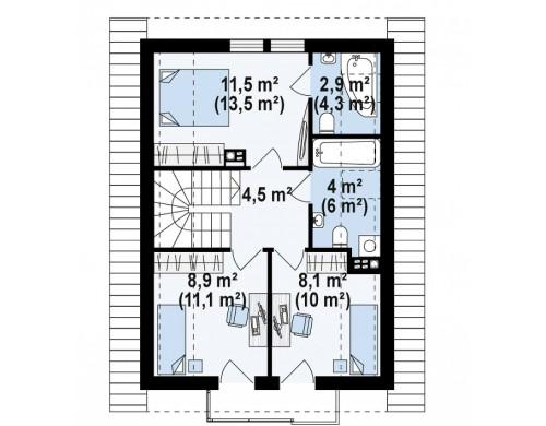 Проект каркасного аккуратного мансардного дома Z177
