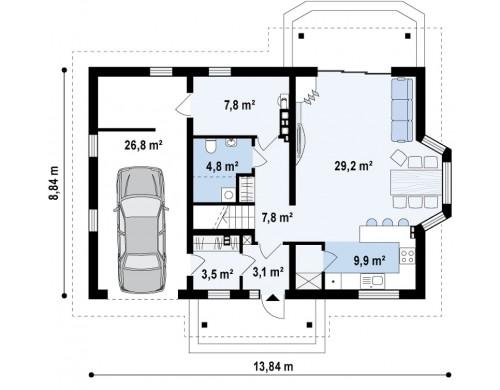 Проект элегантного дома простой формы со встроенным гаражом, эркером и балконом над ним - Z178