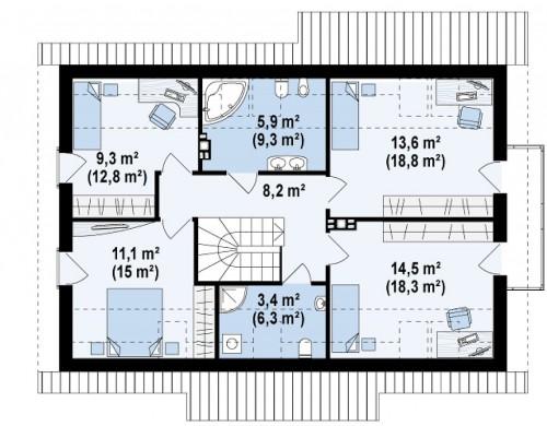 Проект Z178 a Версия проекта Z178 с дополнительной комнатой на первом этаже.  Проекты домов и гаражей