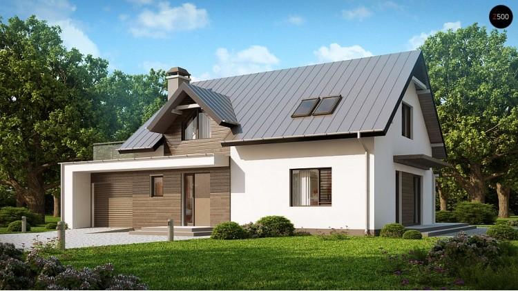 Проект классического дома с современными элементами архитектуры, с обширной террасой над гаражом - Z179