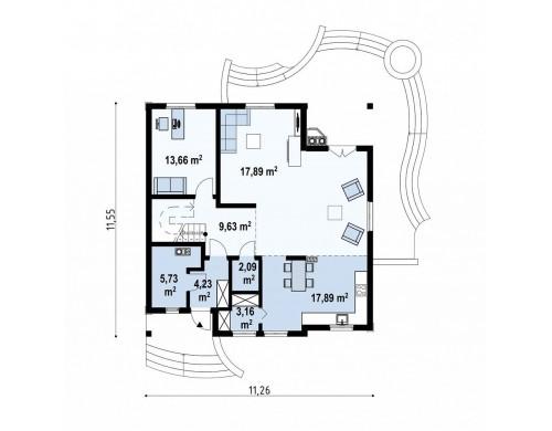 Проект Z18 dk Проект красивого мансардного дома, адаптированный для каркасной технологии  Проекты домов и гаражей