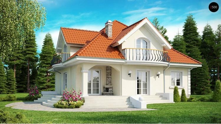 Проект дома в классическом стиле с изящными мансардными окнами и балконами - Z18