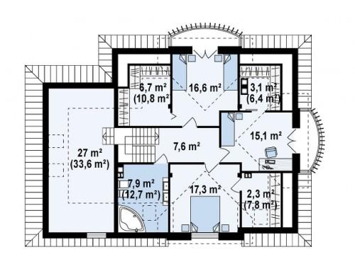 Проект Z18 GL bk Версия проекта Z18 со встроенным гаражом с левой стороны дома  Проекты домов и гаражей