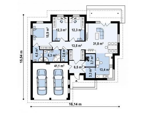Проект стильного одноэтажного дома с гаражом для двух автомобилей - Z180