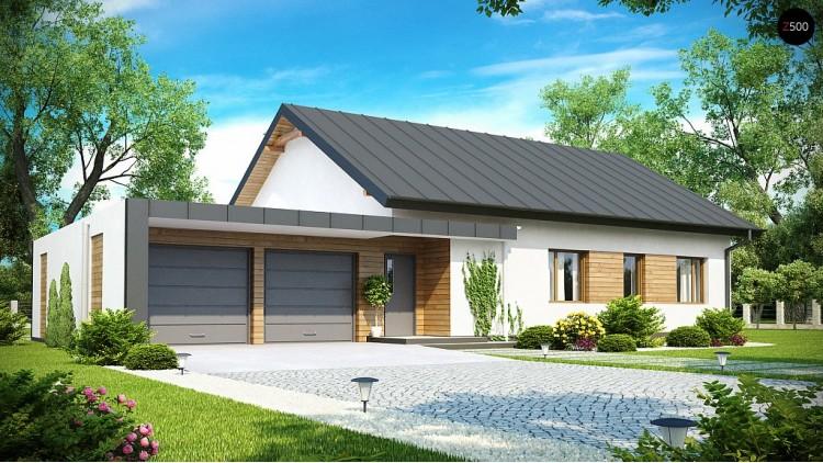 Проект одноэтажного дома с двускатной крышей, с большим боковым гаражом - Z182