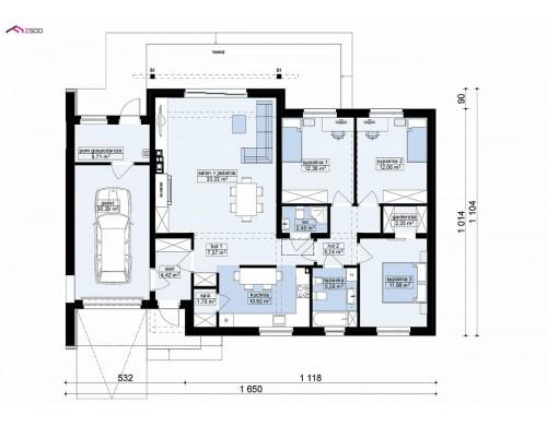 Проект Z182 GL P HB Дом, выполненный в традиционном стиле с одноуровневой планировкой.  Проекты домов и гаражей