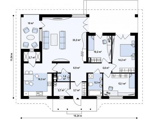Проект одноэтажного дома с крытой террасой и оранжереей - Z185