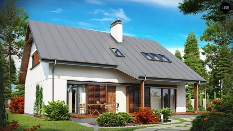 Проект дома с мансардой, гаражом, кабинетом на первом этаже и стильным эркером - Z186