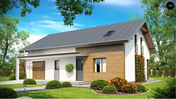 Проект дома для одной семьи с гаражом на одну машину и кабинетом на первом этаже - Z188