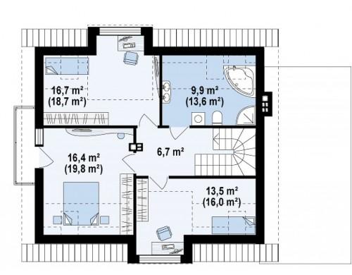 Стильный дом с оригинальными мансардными окнами, с гаражом и кабинетом на первом этаже - Z189