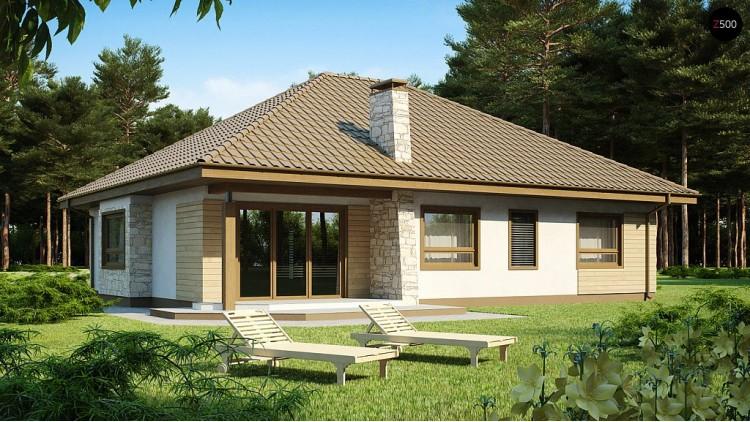 Проект одноэтажного дома с фронтальным гаражом, с возможностью обустройства мансарды - Z19