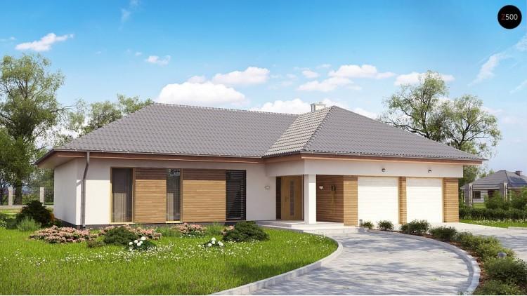 Проект Z190 Проект комфортного одноэтажного дома с фронтальным гаражом для двух машин.  Проекты домов и гаражей