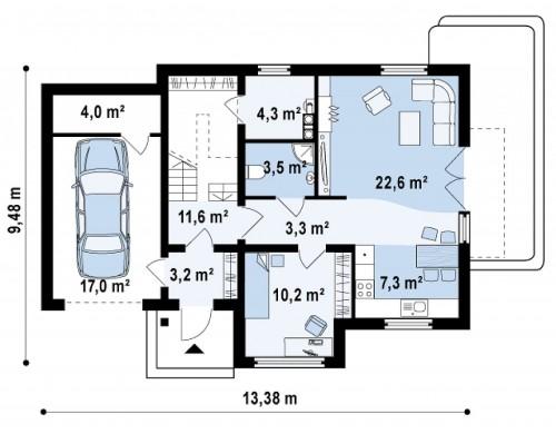 Проект дома с гаражом, с возможностью его использования в качестве двухсемейного - Z192