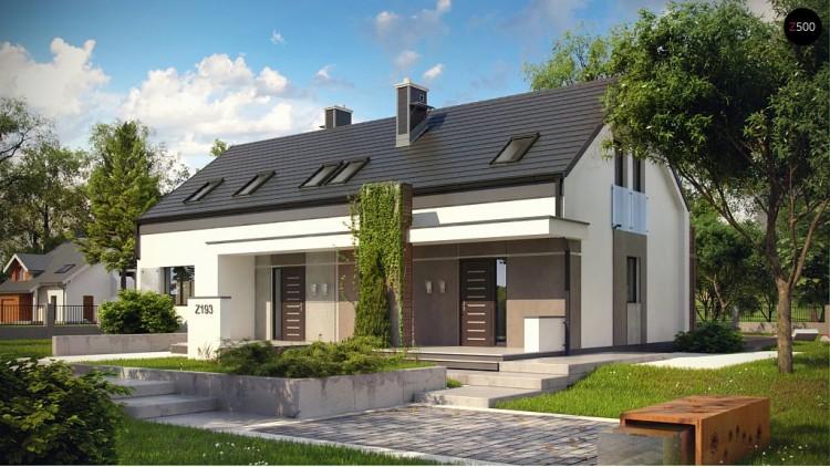 Проект стильного двухсемейного дома с общим входом, экономичного в строительстве и эксплуатации - Z193