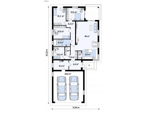 Проект Z195 GF2 HB Версия z195 с гаражом для двух автомобилей  Проекты домов и гаражей