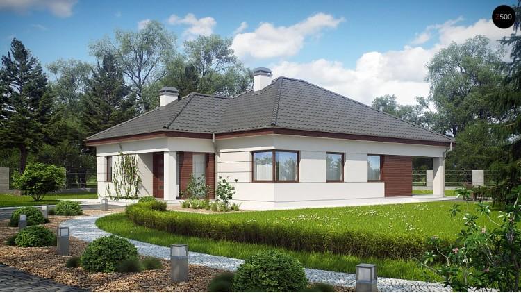Просторный одноэтажный дом с многоскатной крышей, угловым окном и угловой террасой в дневной зоне - Z195