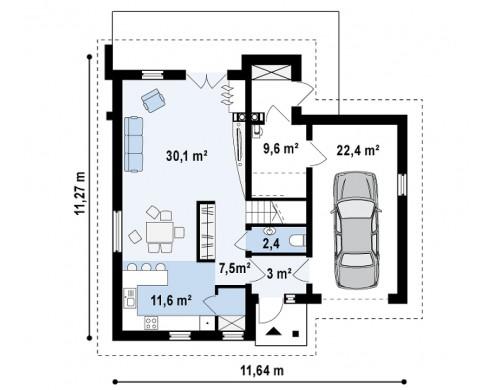 Проект удобного функционального дома с мансардой и гаражом Т-образной формы - Z197