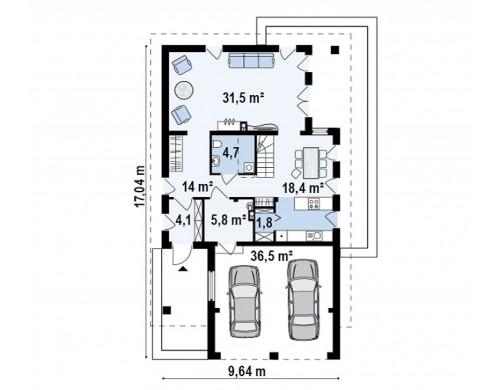 Проект дома простой формы с обширной террасой над гаражом - Z198