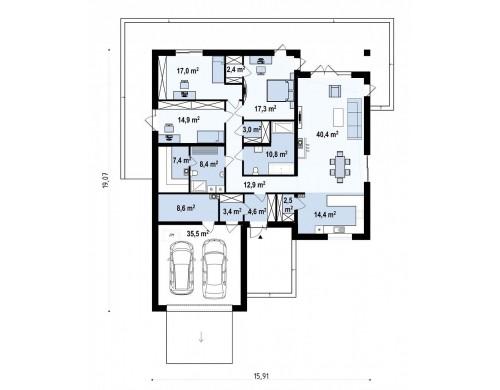 Проект Z199 v1 Версия одноэтажного дома Z199 с измененной планировкой  Проекты домов и гаражей