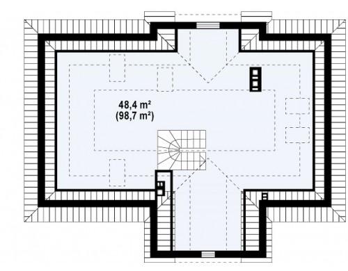 Проект дома с чердаком в стиле дворянской усадьбы с возможностью обустройства чердачного помещения.